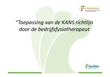 """""""Toepassing van de KANS richtlijn door de bedrijfsfysiotherapeut"""