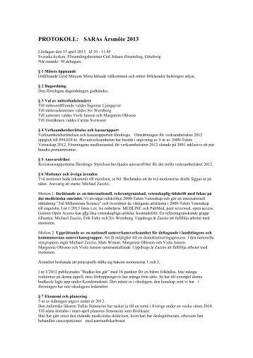 PROTOKOLL: SARAs Årsmöte 2013 - 2000-Talets Vetenskap