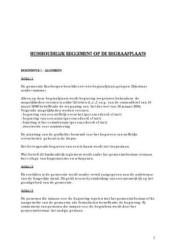 Huishoudelijk reglement - Gemeente Keerbergen