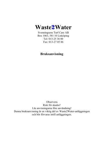 Waste2Water - Prodana