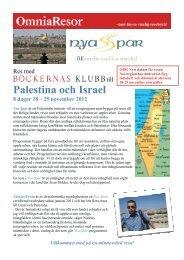 Palestina och Israel 8 dagar 18 – 25 november ... - Böckernas Klubb