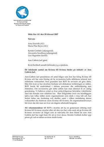 Möte före AU den 20 februari 2007 Närvaro Ansa Eneroth (AU ... - IKFF