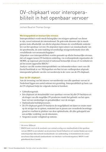OV-chipkaart voor interopera- biliteit in het openbaar vervoer ...