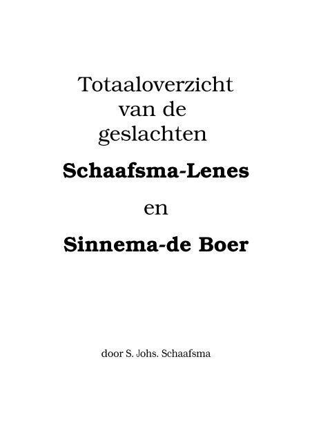 Totaaloverzicht van de geslachten Schaafsma-Lenes en     - Coret