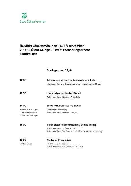 Läs programmet för vänortsbesöket - Östra Göinge kommun