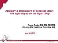 Apology & Disclosure of Medical Error: - South Carolina Hospital ...