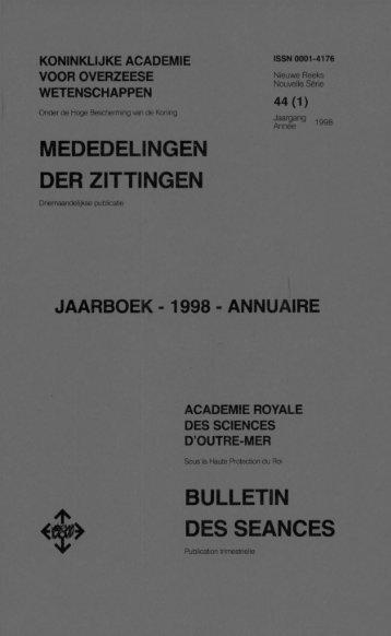 mededelingen der zittingen bulletin des seances - Royal Academy ...