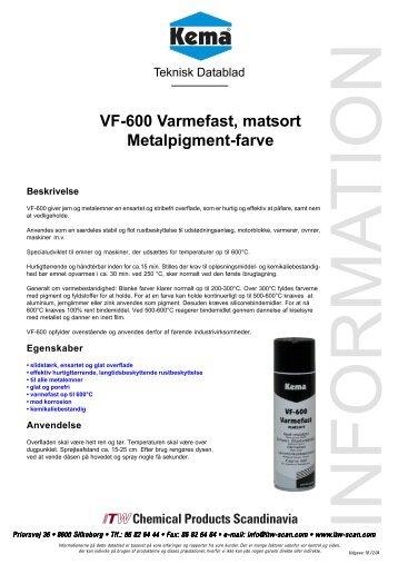 VF-600 Varmefast, matsort Metalpigment-farve - Kema