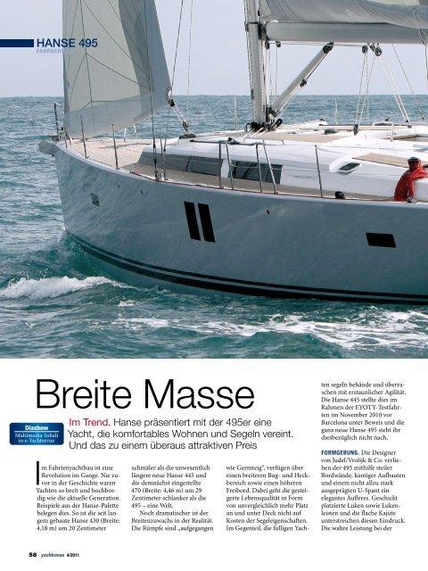 Breite Masse - Hanse Yachts