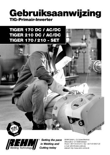Gebruiksaanwijzing NL Tiger 170-210 - PRRE Lastechniek