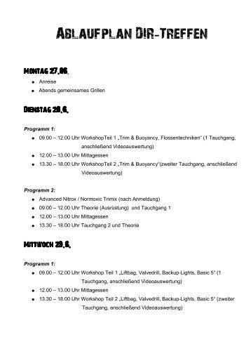 Ablaufplan DIR Treffen - - Baltic Dive Center