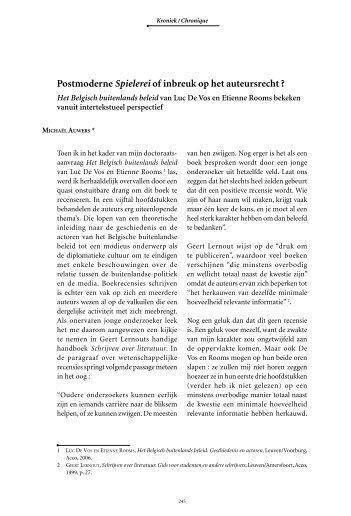 Postmoderne Spielerei of inbreuk op het auteursrecht ?