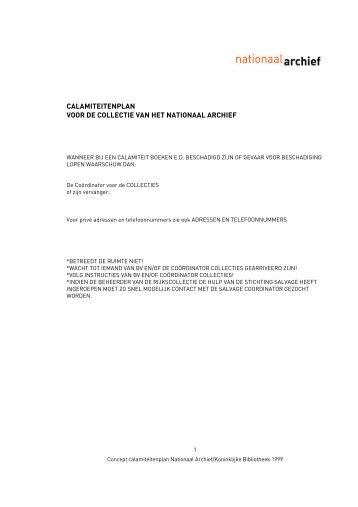 Voorbeeld calamiteitenplan - Nationaal Archief