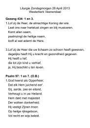 Liturgie Zondagmorgen 28 April 2013 Westerkerk Veenendaal ...