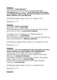 Program Sommaren 2013, vecka 19 - Örebro