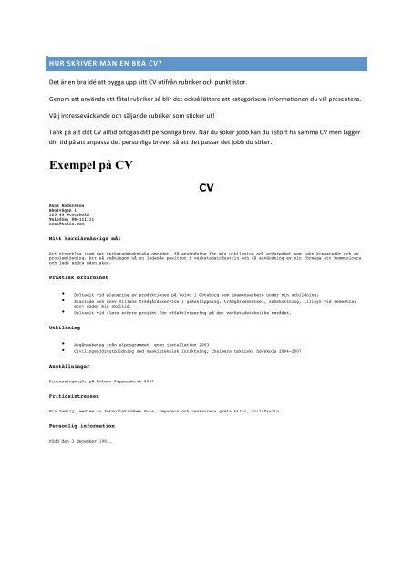 Exempel Pa Cv