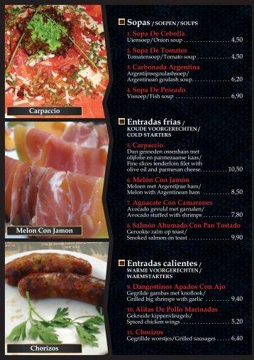 entradas frías / entradas calientes / - Restaurant Villa Maria