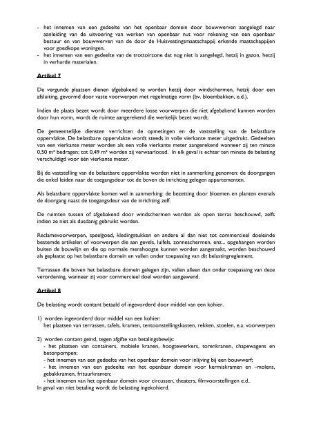 Belastingreglement op het innemen van het openbaar domein voor ...