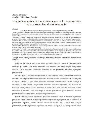 valsts prezidenta atlaišanas regulējums eiropas ... - Dukonference.lv