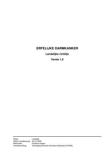 Richtlijn: Erfelijke darmkanker (1.0) - Kwaliteitskoepel