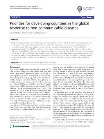 Priorities for developing countries in the global response to non ...
