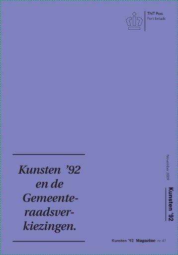 K92 Magazine 41 – Gemeenteraadsverkiezingen ... - Kunsten '92