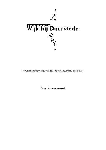 Programmabegroting_2011_tbv_Raad - gemeente Wijk bij Duurstede