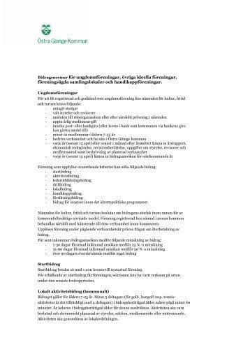 Bidragsnormer för fritidsföreningar - Östra Göinge kommun