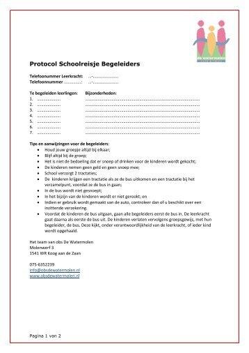 Protocol Schoolreisje Begeleiders - obs De Watermolen