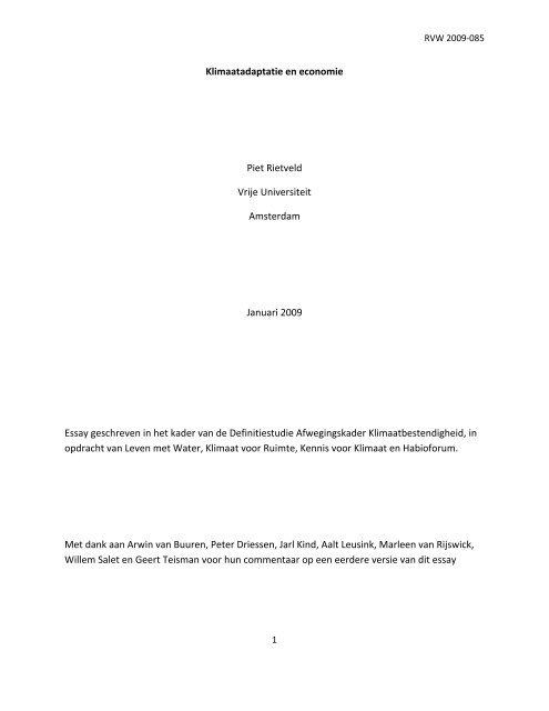 Achtergrondstudie Klimaatadaptatie en economie