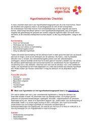 Hypotheekadvies Checklist - Vereniging Eigen Huis