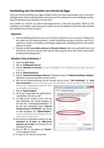 Handleiding voor het instellen van internet bij Ziggo - Selwerd ...