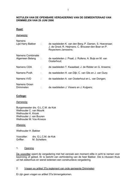 Raadsvergadering 29 juni 2006 - Gemeente Drimmelen - 7 mei 2013