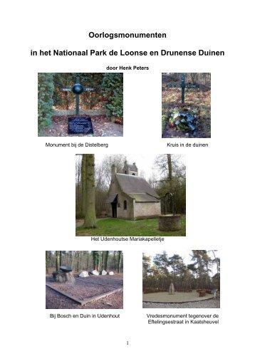 Oorlogsmonumenten in het Nationaal Park de Loonse en Drunense ...