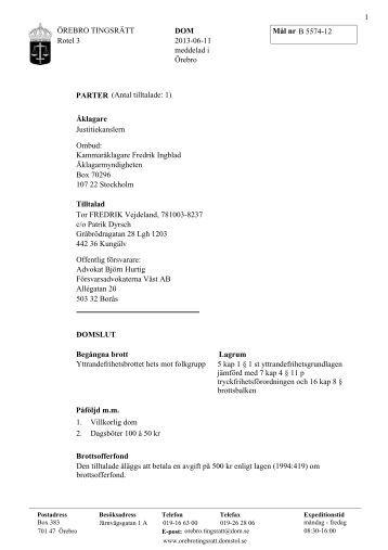 ÖREBRO TINGSRÄTT Rotel 3 DOM B 5574-12 2013-06-11 ... - fildirekt