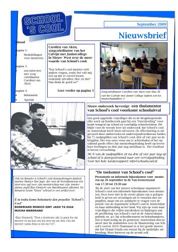 School's Cool Amsterdam Nieuwsbrief september 2009