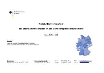 Anschriftenverzeichnis der Staatsanwaltschaften in der ...