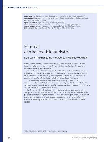 Estetisk och kosmetisk tandvård - Tandläkartidningen