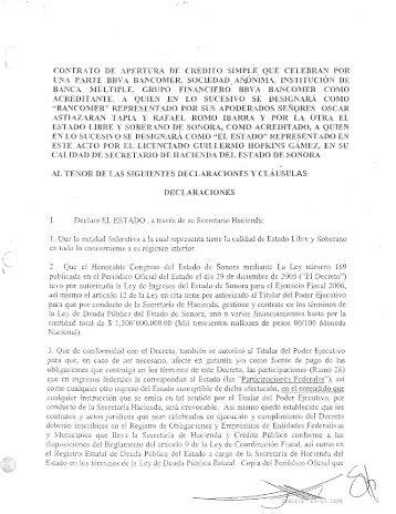 Crédito BBVA Bancomer 350 MDP - Gobierno del Estado de Sonora