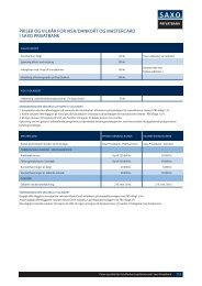 priser og vilkår for visa/dankort og mastercard i saxo privatbank
