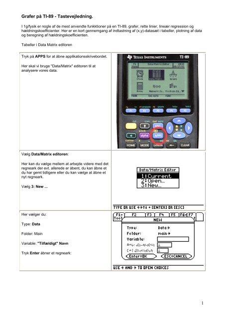 Grafer p TI-89 - Tastevejledning