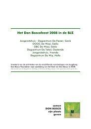 Het Don Boscofeest 2008 in de BJZ - Don Bosco vorming en animatie