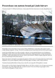 Pressrelease om nattens brand på Linds båtvarv
