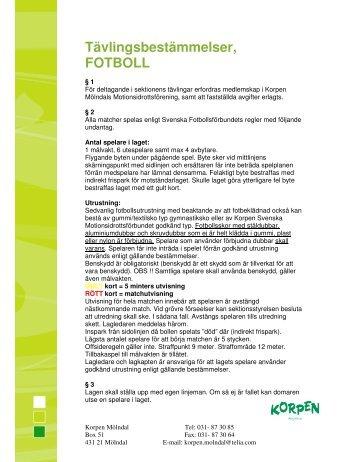 Tävlingsbestämmelser, FOTBOLL