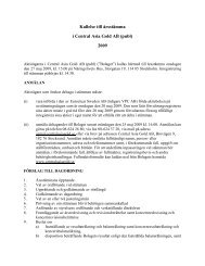Kallelse till årsstämma i Central Asia Gold AB (publ) 2009