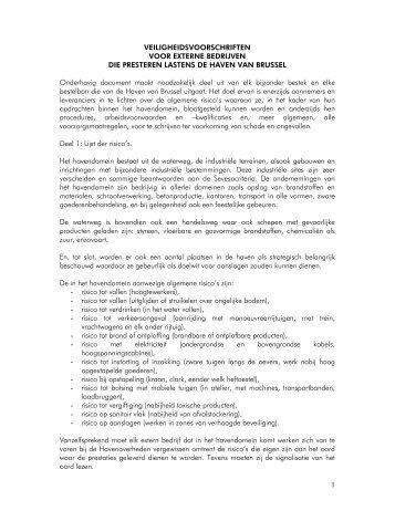 veiligheidsvoorschriften voor extrene bedrijven - Haven van Brussel