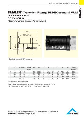 Style transition coupling hdpe plastic to steel proflo
