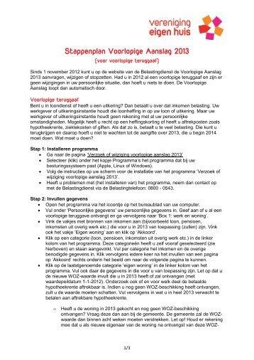 Stappenplan Voorlopige Aanslag 2013 - Vereniging Eigen Huis