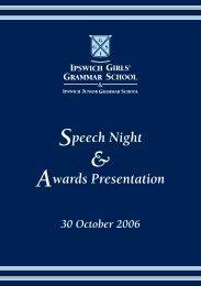 Speech Night Awards Presentation - Ipswich Girls' Grammar School