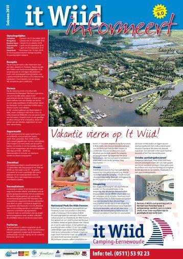 """Info: tel. (0511) 53 92 23 - Camping """"It Wiid"""""""